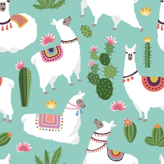 Textile fabric seamless patterns with illustrations of llama and cactus. vector alpaca seamless pattern, green cactus