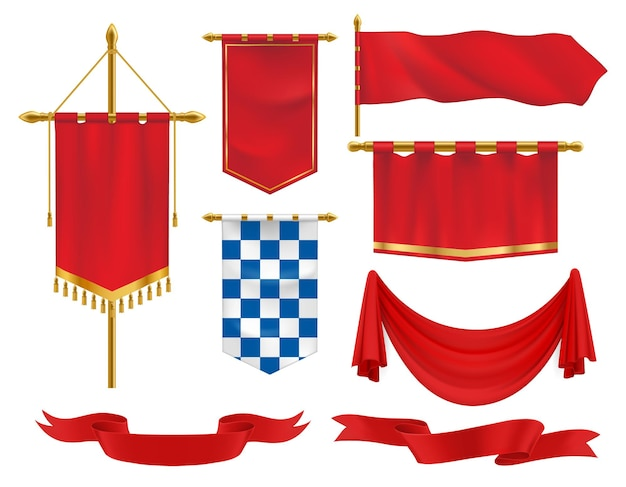 Textile heraldic banners, pennants and flags