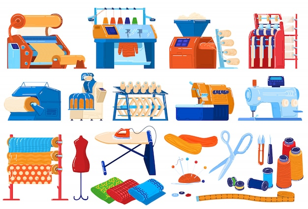 섬유 산업 그림 세트, 섬유 기계 장비, 스레드 및 직물 생산 공정의 만화 모음