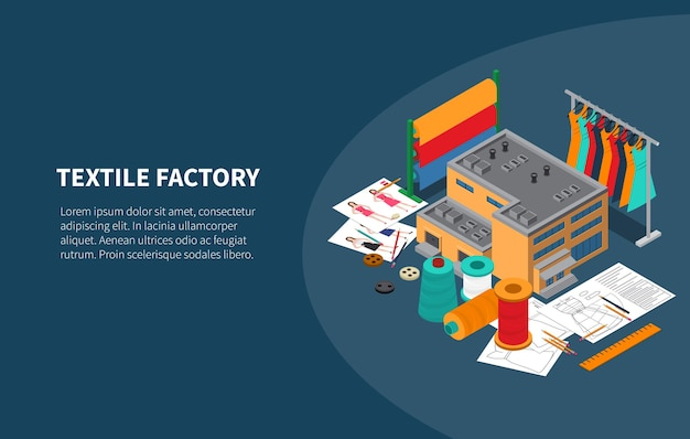 Textile industry manufacturing factory production isometric illustration with yarn fabric clothes rack