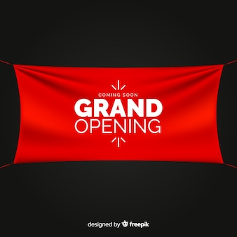 Textile realistic sign grand opening