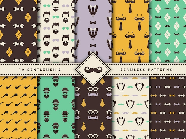 Textile seamless backgrounds for male accessories Premium Vector