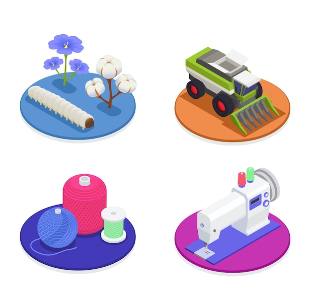 Textile and spinning industry 2x2 design concept with harvesting machinery cotton and flax flowers cotton and wool threads sewing machine isometric compositions illustration