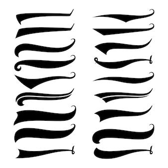 テキストメッセージの尾。スワールスワッシュストロークデザイン、カール活版印刷イラスト