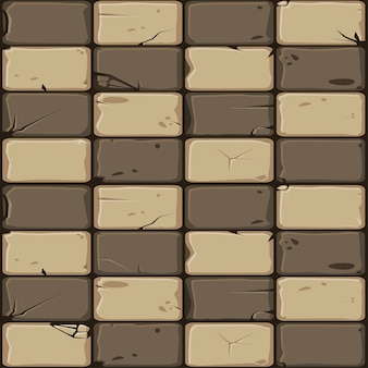 Texture of brown stone tiles, seamless background stone wall.