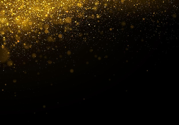 Texture glitter and elegant for christmas sparkling magical gold yellow dust particles magic golden concept abstract black background with bokeh effect
