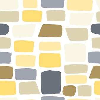 Текстура кирпичной стены. бесшовный узор из гальки. ручной обращается каменные обои. векторная иллюстрация