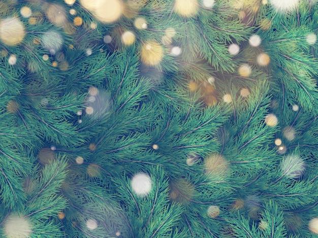 벽의 질감 크리스마스 트리 소나무 전나무 가지로 장식.