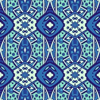 青と白のオリエンタルタイルからアラベスクのテクスチャシームレスベクトルパターン