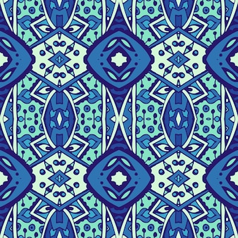 Texture seamless vector pattern arabesque from blue and white oriental tiles