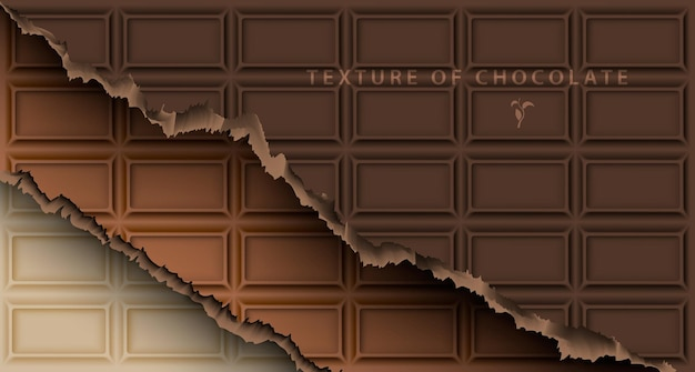 Texture of white, milk and dark chocolate bar with broken ends