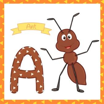 Textured bold font alphabet a, a for ant cartoon