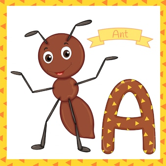 Textured bold font alphabet a, a for ant cartoon