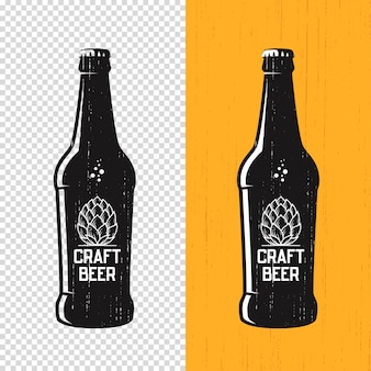 Textured craft beer bottle label .