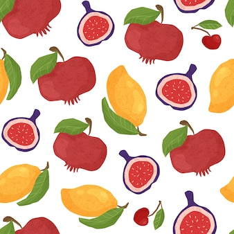 Textured fruit seamless pattern white background - pomegranates, figs and tropical mango