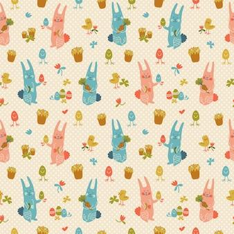 Текстурированный счастливый пасхальный бесшовный образец в пастельных тонах с кроликами, цветами, яйцами, морковью и цыплятами, каракули