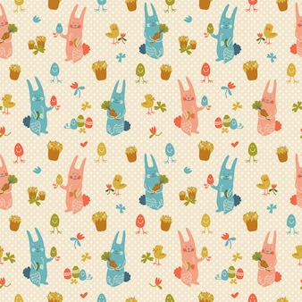 Textured happy easter seamless pattern in pastel colors with rabbits flowers eggs carrots and chicks doodle