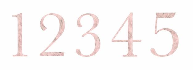 織り目加工のピンクの数字1-5