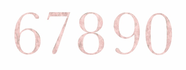 Textured pink numbers 6 - 0
