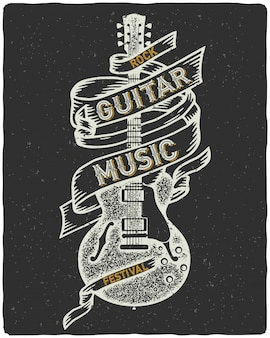 Textured poster with old guitar