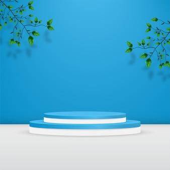 青い壁に葉を持つテクスチャ製品の表彰台の背景