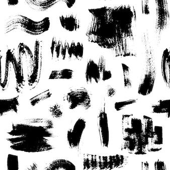 ブラシストロークとテクスチャのシームレスなパターン手描きモノクロベクトル白い背景