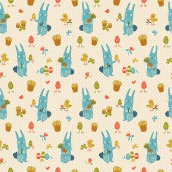 Текстурированный бесшовный образец со счастливыми пасхальными кроликами, цыплятами и цветами каракули