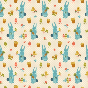Textured seamless pattern with happy easter rabbits chickens and flowers doodle
