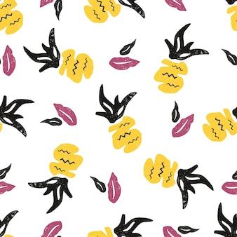 파인애플과 잎이 있는 매끄러운 패턴입니다. 열대 부족의 동기. 지문, 드레스, 셔츠, 모든 섬유, 인사말 카드