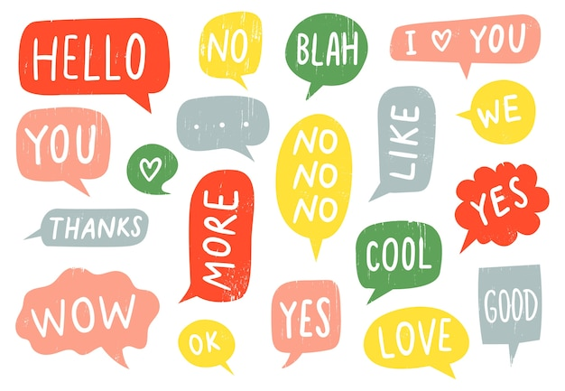 Textured speech bubble signs