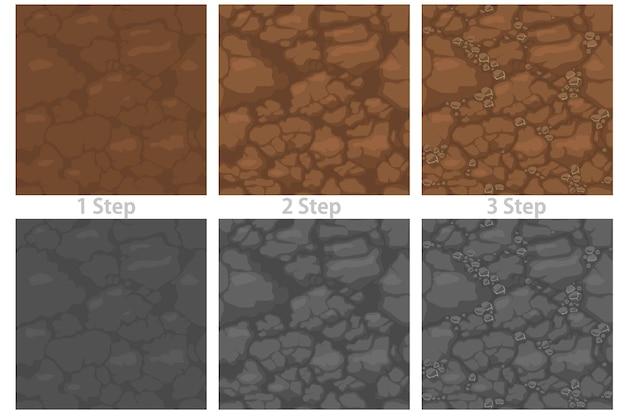 Набор текстурированный каменный пол бесшовные модели