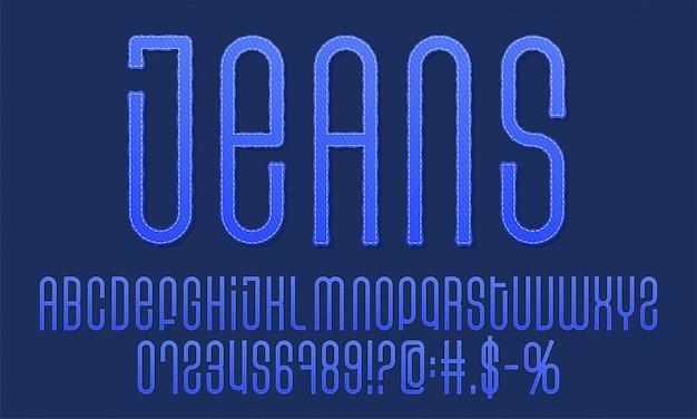 テクスチャのビンテージフォント。デニムラベルの書体。ジーンズのアルファベット。グランジ効果を持つデザイン要素。