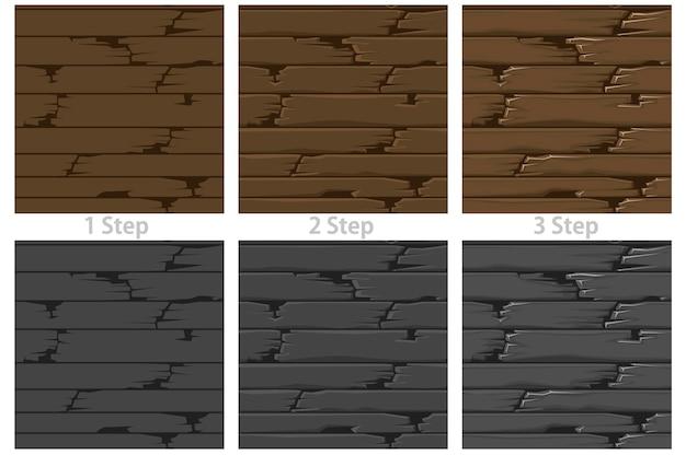 Textured wood floor seamless patterns set