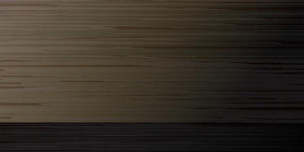 Textured wooden dark empty board abstract horizontal background vector illustration