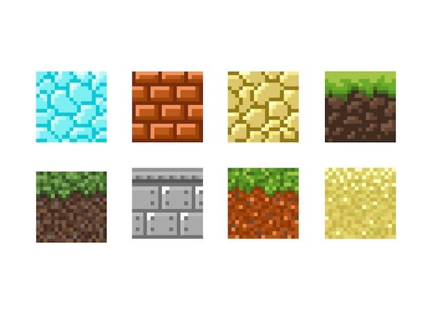 Текстуры для платформеров пиксель арт вектор изолированные шаблон