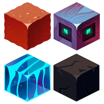 Textures for platformers isometric set