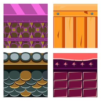 Textures for platformers set with wood boards and scale