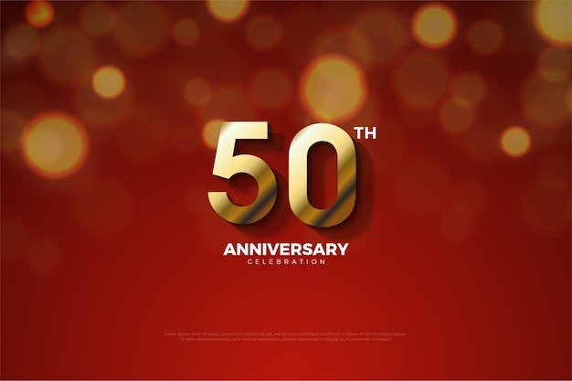 Th anniversary background with golden numbers and shadow cut effect
