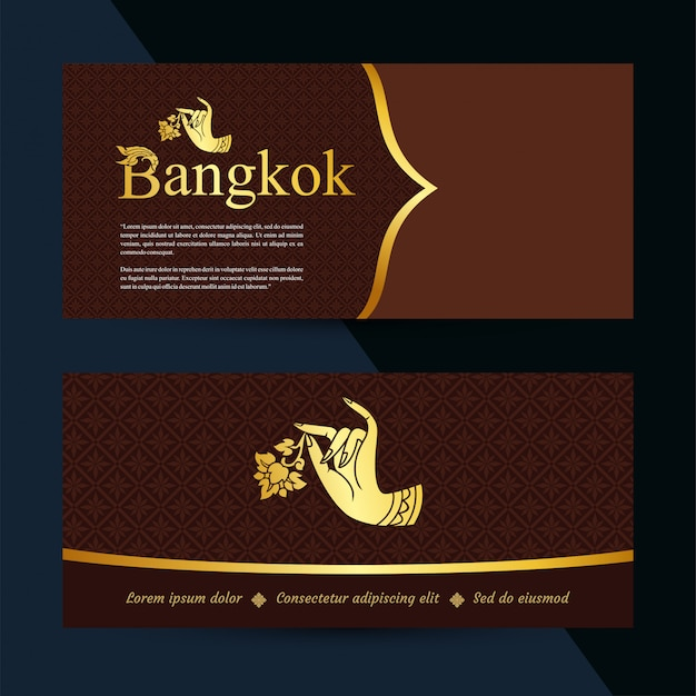 Thai art banners. gift voucher template. vector