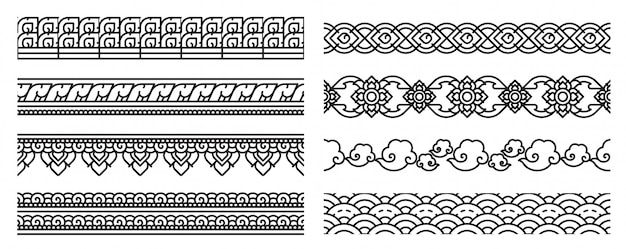 Thai art line seamless borders. old laces.