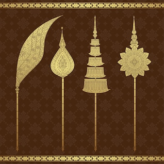 Thai art luxury temple and background pattern