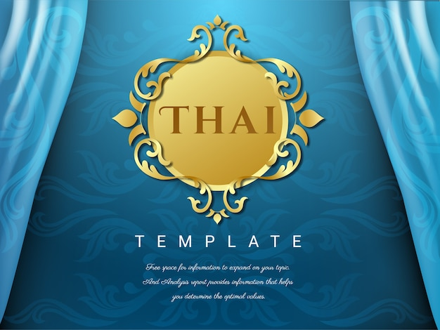 Thai background blue color with flower logo.