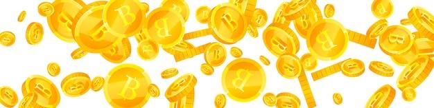 태국 바트 동전 떨어지는 굵은 흩어져있는 thb 동전 태국 돈 쾌적한 잭팟 부 또는 성공 c...