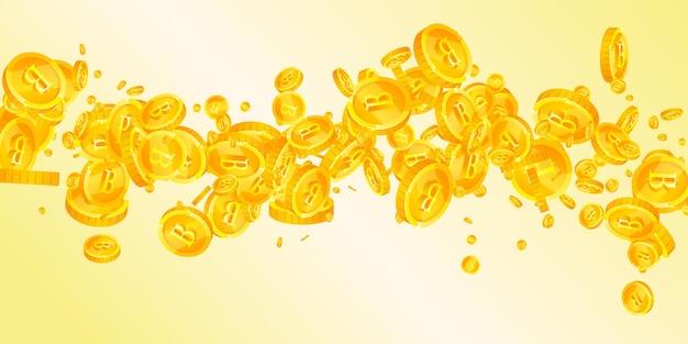 떨어지는 태국 바트 동전. 이상적인 흩어져있는 thb 동전. 태국 돈. 우아한 잭팟, 부 또는 성공 개념. 벡터 일러스트 레이 션.
