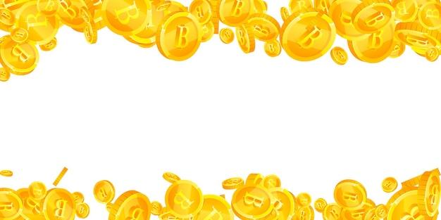 タイバーツ硬貨が落ちています。真っ白な散らばったthbコイン。タイのお金。素晴らしい大当たり、富または成功の概念。ベクトルイラスト。