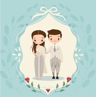 Thai bride and groom on wedding invitations card