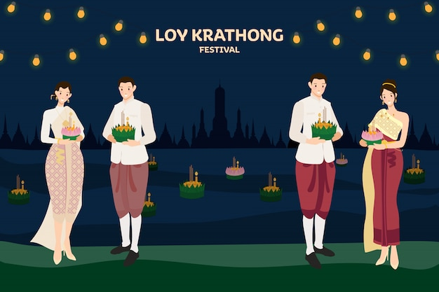 Thai couple traditional dress floating flowers loy kratong thailand festival full super moon night and temple scene celebration