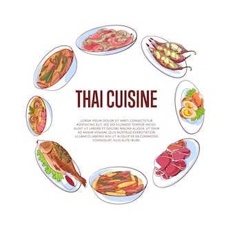 Thai cuisine banner with asian dishes