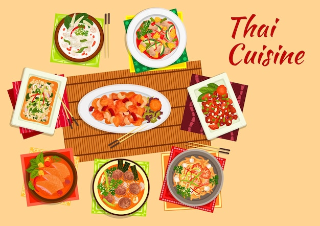 Thai cuisine dinner flat symbol of rice noodles with shrimps, cashew nut chicken, sweet and sour pork, chicken salad, pineapple duck curry, coconut milk chicken soup, lamb curry, pork meatball soup