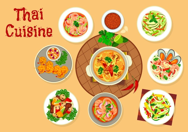 Thai cuisine food vector design of asian seafood and vegetable salads, soups and meat stew. panang curry paste, shrimp, lemongrass, soybean sprout and mussel salads, battered prawns, beef and mushroom